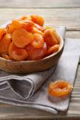 Dried apricots in a bowl — Stock Photo
