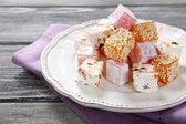 Turkish delight on a plate — Stock Photo