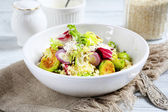 Cous-cous with cabbage and sour cream — Stock Photo