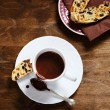 Sweet hot chocolate biscotti on the plate — Stock Photo #63032541