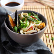Noodles with mussels and vegetables — Stock Photo #68229665