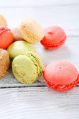 Sweet macaroon on the boards — Stock Photo