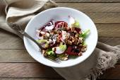 Crispy beetroot salad on a white plate — Stock Photo