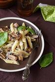 Nutritious pasta with mushrooms — Stock Photo