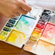 Paintbrush and paint palette — Stock Photo #64320523