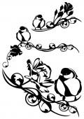 Bird in flowers — Stock Vector