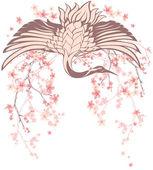 Wiosną Żuraw ptak — Wektor stockowy