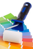Color chart guide with paint roller — Foto Stock