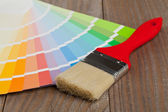 Color chart guide with brush — Stock Photo