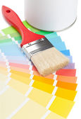 Color chart guide with brush and paint bucket — Stockfoto