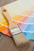 Color chart guide with brush — Stockfoto