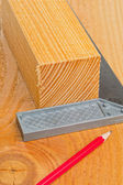 Cut wood with try square and pencil — Stock Photo