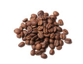 Heap of roasted coffee beans on white — Stock Photo