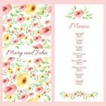 Wedding menu design with hand drawn flowers. — Stock Vector #77384638