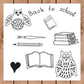 School design with owls and books. — Stock Vector