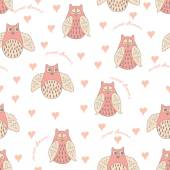 Seamless vector pattern with owl and heart — Stock Vector