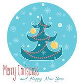 Christmas tree with snowflake. Christmas hand drawn card. — Stock Vector