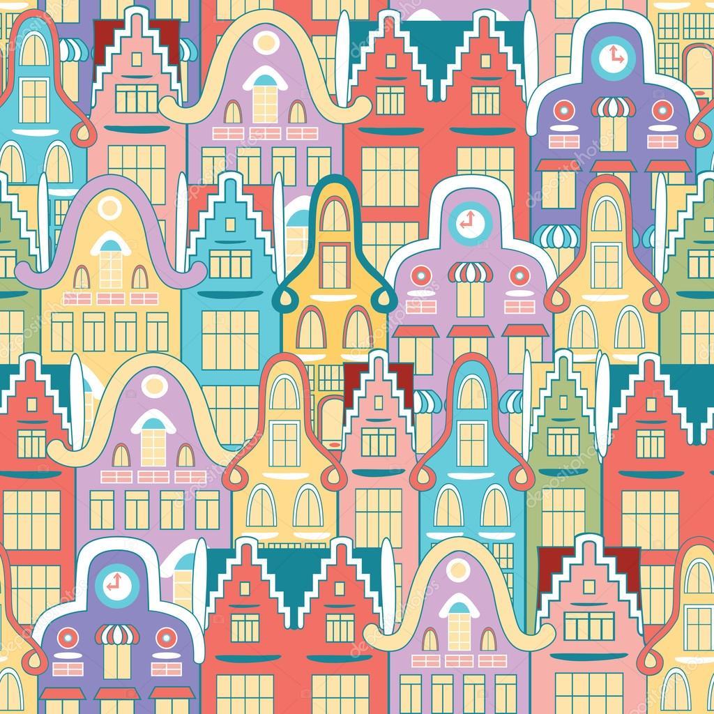 Vektor nahtlose Muster der Häuser im Stil Niederlande ... size: 1024 x 1024 post ID: 7 File size: 0 B