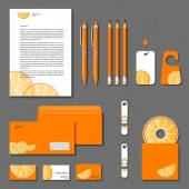 Orange corporate identity. Vector company style for brand-book — Stock Vector