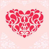 Red Floral Heart on Pink Background — Vettoriale Stock