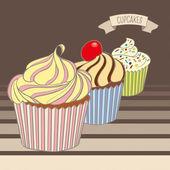 Délicieux cupcakes colorés — Vecteur