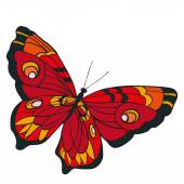 Red butterfly with open wings in a top view — Vecteur