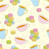Colorful macaroon cookies and teacup seamless pattern. — Stock Vector
