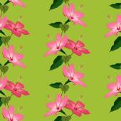 Seamless pattern with hand drawn hibiscus flowers on green backg — Stock Vector