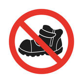 Do not walk in shoes sign icon. Red prohibition sign — Stock Vector