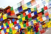 Buddhist Tibetan prayer flags lungta on breeze — Stock Photo