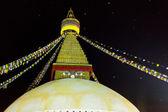 World's Largest Buddhist stupa at night in Nepal — Stock Photo