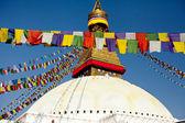 Buddhist Tibetan prayer flags lungta and World's Largest stupa in Nepal — Stock Photo