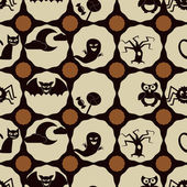 Seamless background with symbols of Halloween — Vector de stock