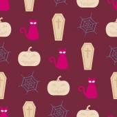 Sömlös bakgrund med symboler för Halloween — Stockvektor
