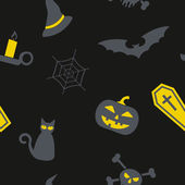Seamless background with symbols of Halloween — Stock Vector