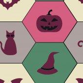 Cadılar Bayramı sembolleri ile sorunsuz arka plan — Stok Vektör