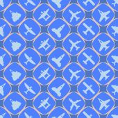 Seamless background with different airplanes — Stock Vector