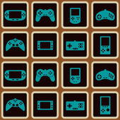 Seamless background with game consoles — Stock Vector