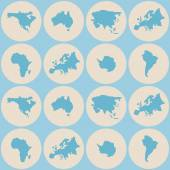 Seamless background with continents and parts of the world — Stockvector
