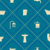 Seamless background with bathroom icons — Vetor de Stock