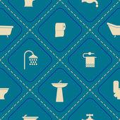 Seamless background with bathroom icons — Stockvektor
