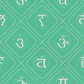 Seamless background with  chakras in Sanskrit — Stock Vector