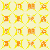 Seamless background with Jewish symbols — Stock Vector
