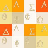 Fondo transparente con las letras del alfabeto griego — Vector de stock