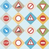 Seamless background with traffic signs — Stock Vector