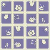 Seamless background with photo camera symbols — Vetor de Stock