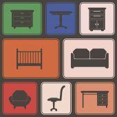 无缝背景与家具 — 图库矢量图片