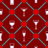 Seamless background with Drink glass — Stockvector