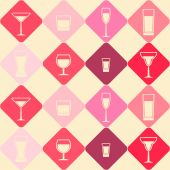 Seamless background with Drink glass — Vector de stock