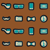 Seamless background with hipster objects — Stock Vector